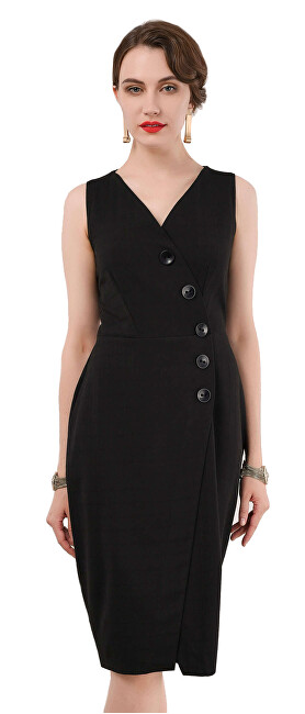 Closet London Dámské šaty Closet Wrap Pinafore Dress Black XL