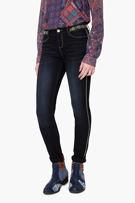 Desigual Pantaloni din Denim Second Skin Gold 17WWDD41 5008 29