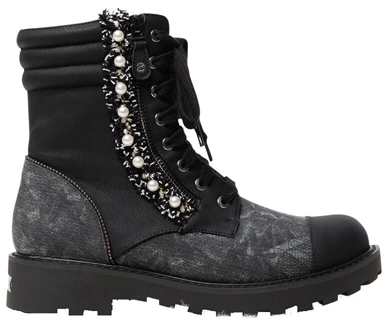 Desigual Dámske členkové topánky Shoes Combat Pearl Negro 19WSTP07 2000 37
