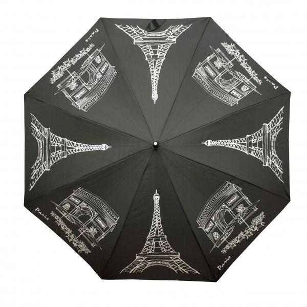 Doppler Dámský holový vystřelovací deštník Flex AC Paris- černý 740765P