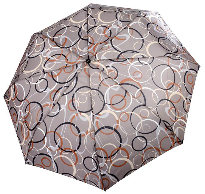 Doppler Dámský skládací plně automatický deštník Fiber Magic Graphic - hnědý s lístky 7441465G22-3