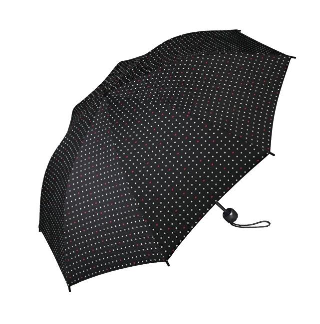Esprit Dámský skládací deštník Mini Basic printed černý s puntíky a srdíčky