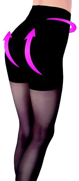 Evona Dámské punčochové kalhoty se zeštíhlujícím a push up efektem LARA černé-999 164-108