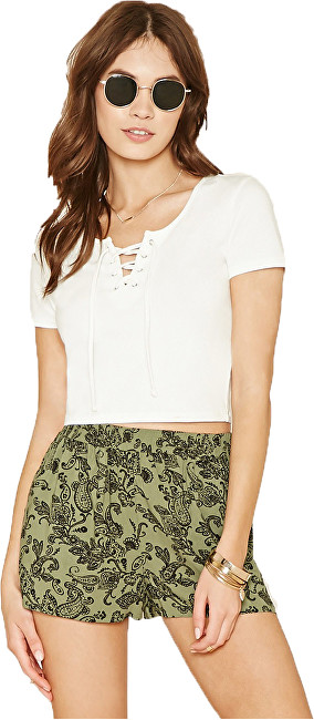 Forever 21 Dámske šortky Ornate Print Woven Shorts - zelené M