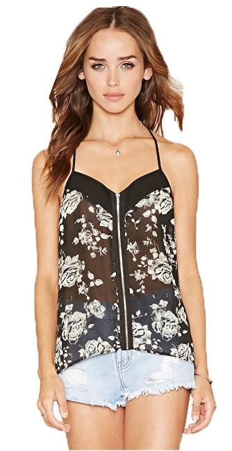 Forever 21 Dámské tílko Zip-Front Floral Chiffon Cami-černá multi M 76de2783b9