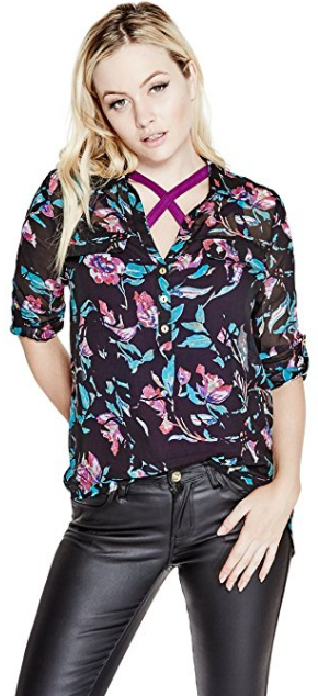 Guess Dámska blúzka G by GUESS Women`s Alastrina Oversized Blouse Purple Pill Multi S