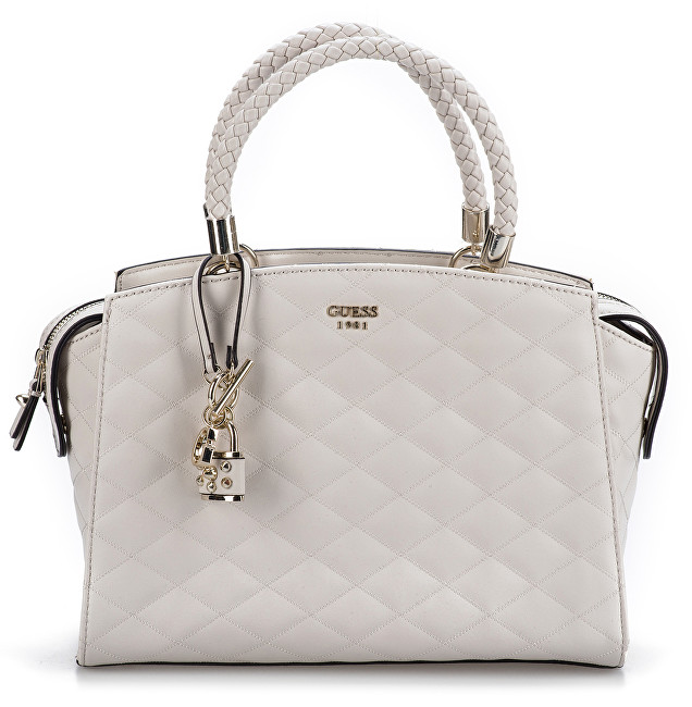 804150e654 Guess Dámska kabelka Guess Penelope Quilted Satchel Light Grey