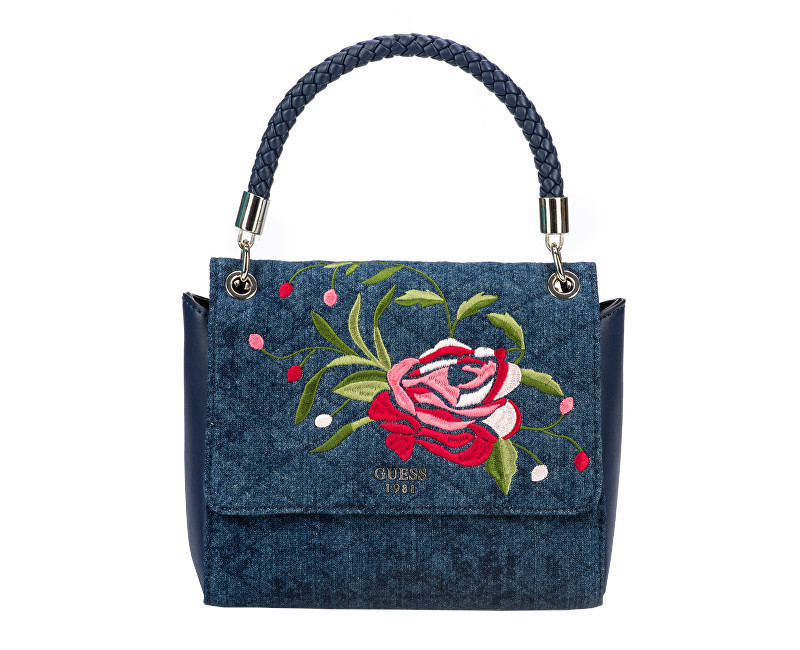 Guess Dámská kabelka Heather Embroidered Flap Satchel Denim b935d7bea25