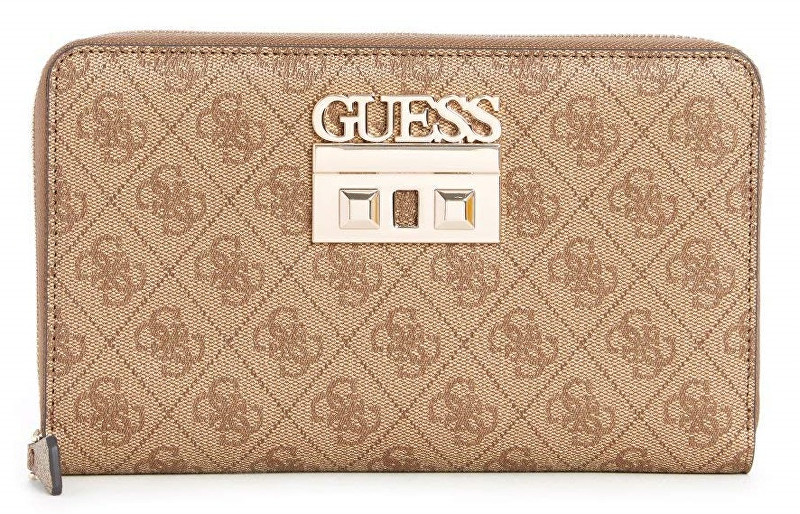 Guess Portofel pentru femei Logo Luxe Large Passport Case Brown
