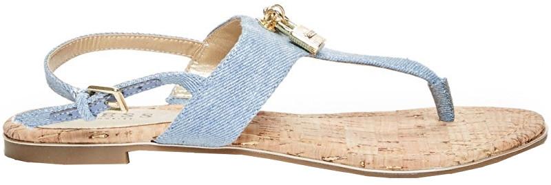 Guess Sandałe Factory Women`s Darryl T-Strap Denim Sandals Light Blue Fabric 38,5