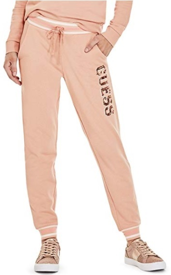 5a6bf82372fa Guess Dámske tepláky Factor y Women`s Ozzy Sequin Logo Sweatshirt Pink L