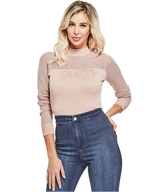 Guess Dámsky sveter Factory Women`s Pamelyn Netted Logo Sweater Pink S