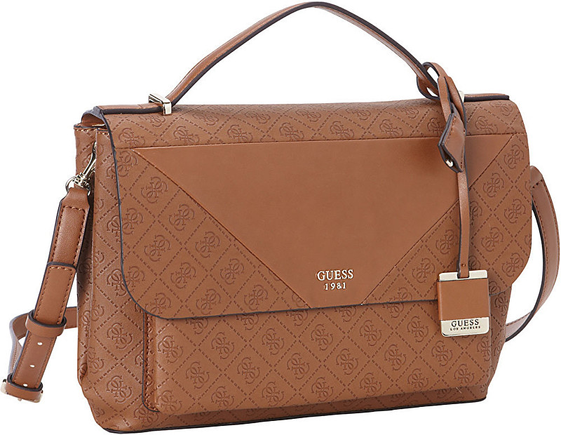 d9db638318 Guess Elegantná dámska kabelka GUESS Cammie Top Handle Flap Crossbody brown