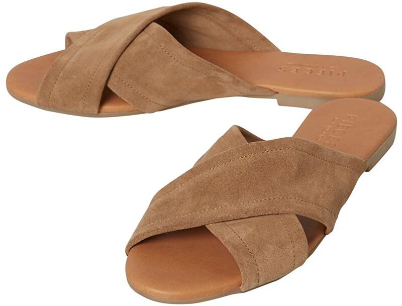 Pieces Papuci pentru femei Marnie Suede Sandal Desert Taupe 40