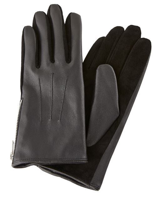 Pieces Dámské rukavice PCHARPER LEATHER GLOVES Black S