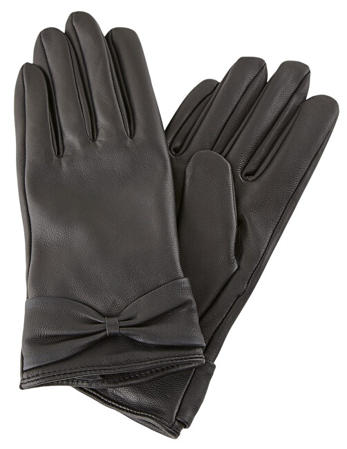 Pieces Dámské rukavice PCKASLE BOW LEATHER GLOVE Black S