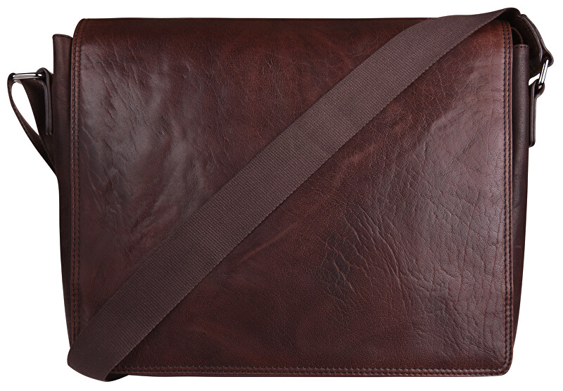 JustBag Pánska kožená taška 40036 Dark Brown