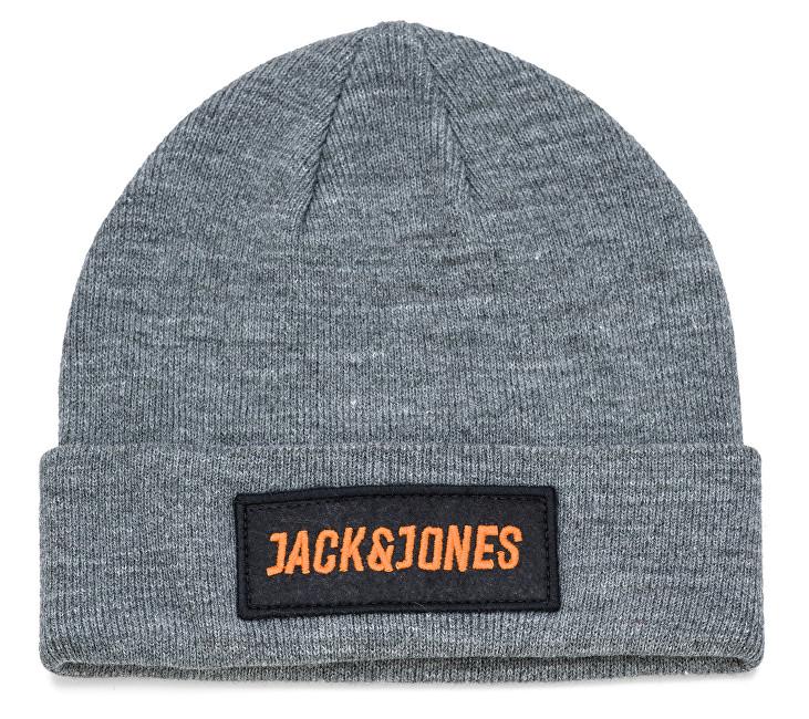 4f2dd386f30 Jack Jones Pánská čepice Jacbadge Knit Beanie Grey Melange