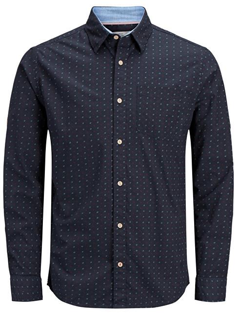 Jack&Jones Tricou pentru bărbați Edward Shirt Ls Org Total Eclipse Slim L