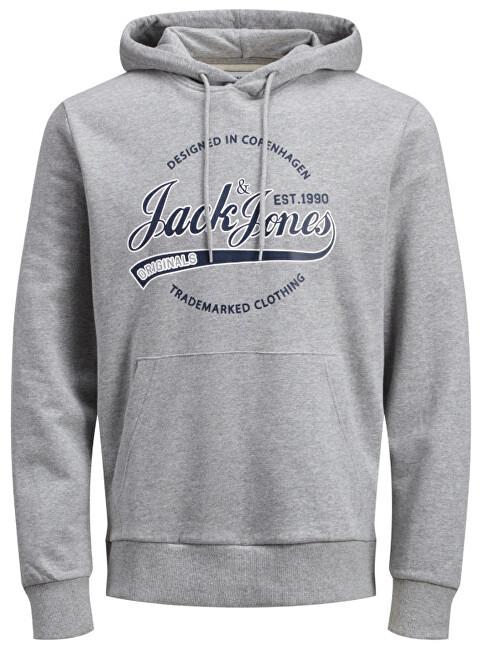 Jack&Jones Pulover de bărbați JORRAFAEL SWEAT HOOD Melange Light Grey S