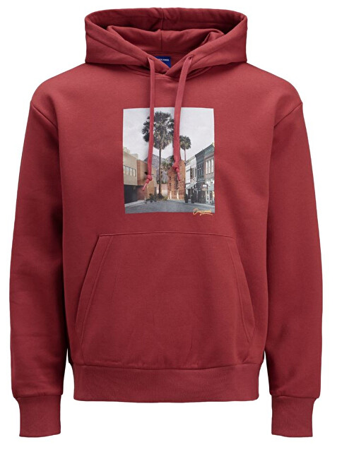 Jack&Jones Hanorac pentru bărbați JORTRAIL SWEAT HOOD Brick Red XL