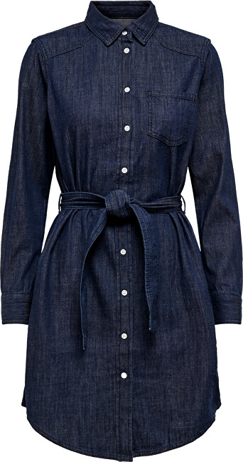 Jacqueline de Yong Dámské šaty JDYESRA LIFE SHIRT DRESS DNM NOOS Dark Blue Denim 42