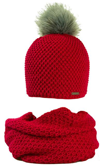 Karpet Dámska sada čiapky a tunel - červená