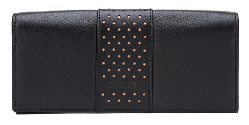 Lagen Dámska čierna kožená peňaženka B/N V-15