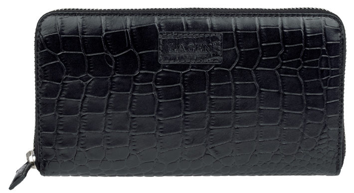 Lagen Dámska čierna kožená peňaženka Black 11227