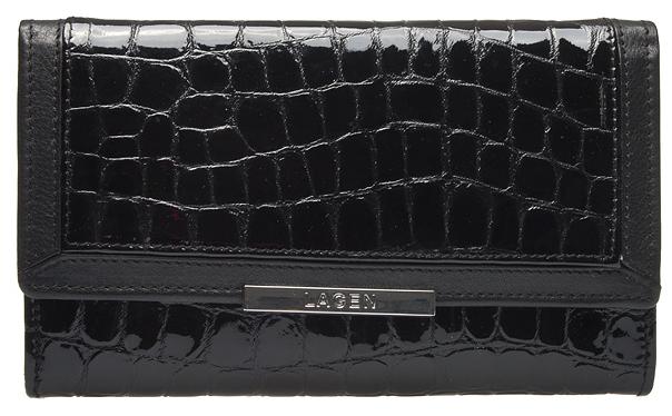 Lagen Dámska čierna kožená peňaženka Black 614811