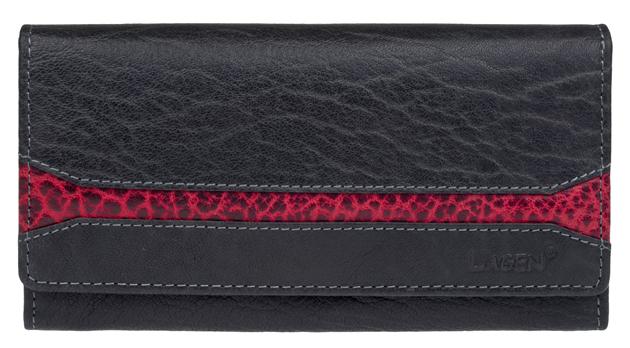 Lagen Dámska čierna kožená peňaženka Black/Red W-2025/IT