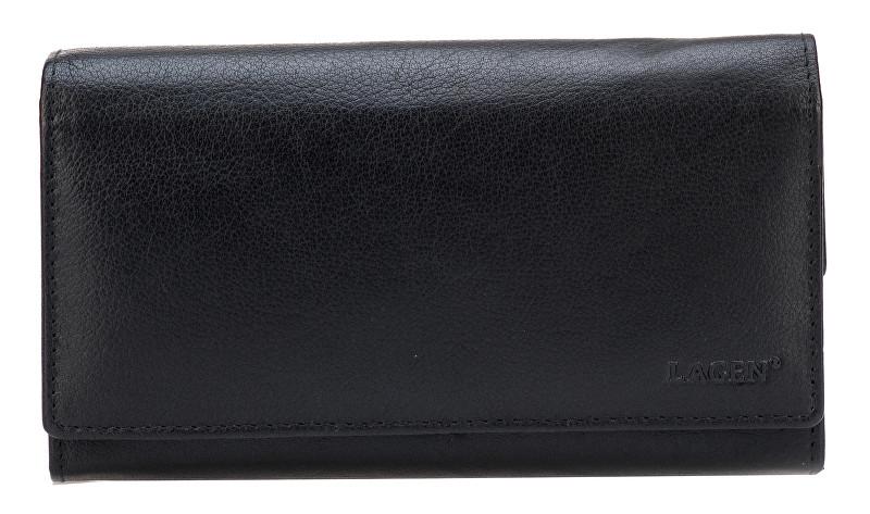 Lagen Dámska čierna kožená peňaženka Black V-62