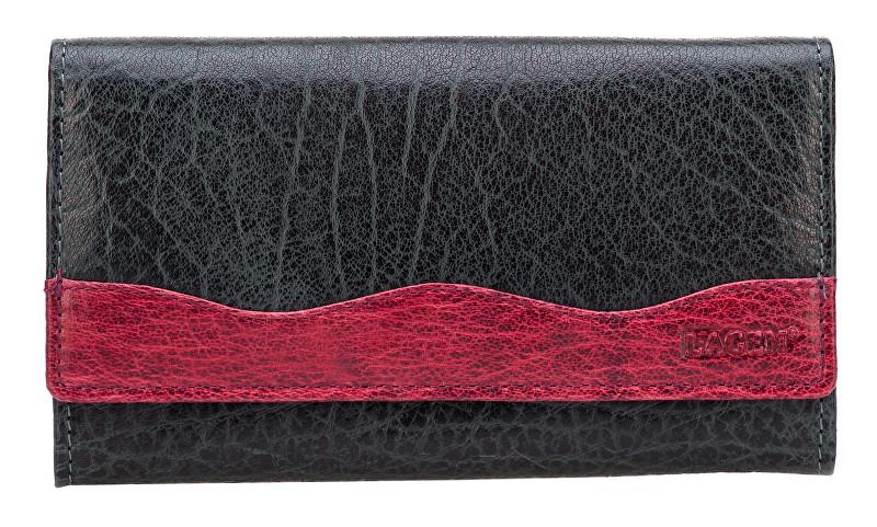 Lagen Dámská černovínová kožená peněženka Black/Wine 4013