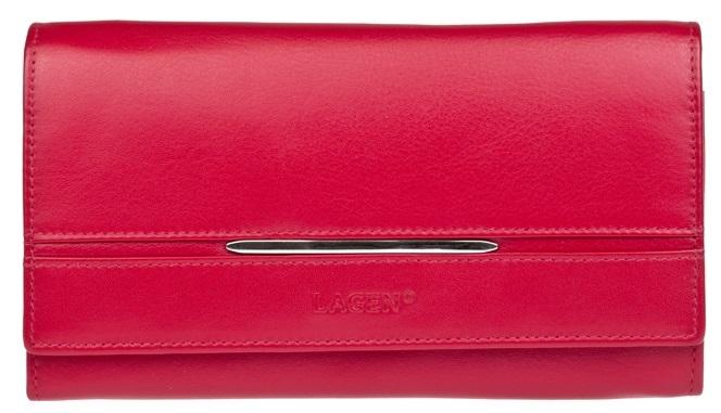 Lagen Dámska luxusná kožená peňaženka Red 9530