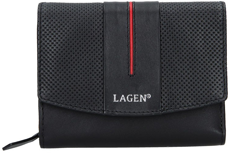 Lagen Dámska kožená peňaženka 5436 BLK/Red