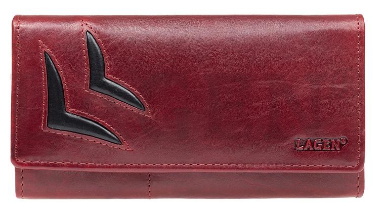 Lagen Dámska kožená peňaženka 6011/T Red / Bl