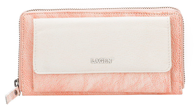 Lagen Dámska kožená peňaženka 786-017 Orange Beige