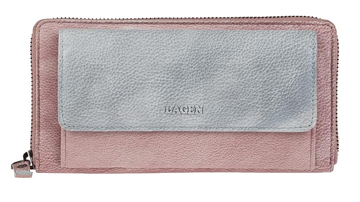 Lagen Dámska kožená peňaženka 786-017 Plum/Silver
