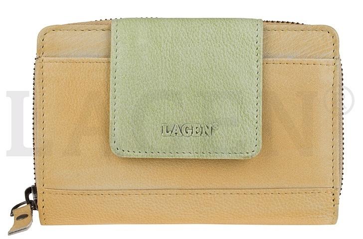 Lagen Dámska kožená peňaženka 931 Yellow/Green