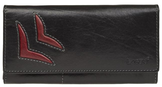 Lagen Dámska kožená peňaženka Black / Red 6011 / T