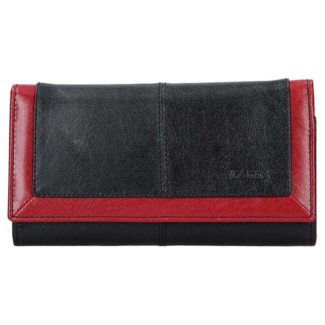 Lagen Dámska kožená peňaženka BLC-4228-219 Blk/Red