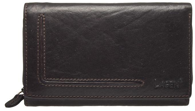 Lagen Dámská kožená peněženka HT-32/T Dark Brown