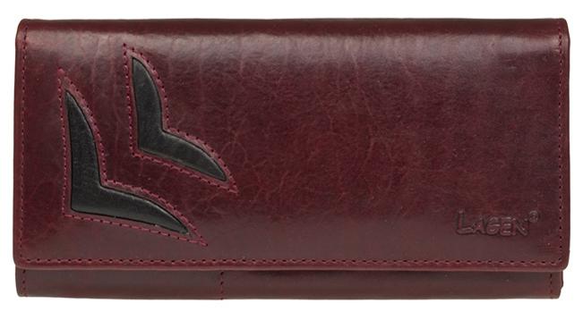 Lagen Dámska vínová kožená peňaženka W/B 6011/T