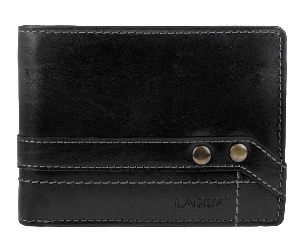 Lagen Kožená čierna pánska peňaženka 5103 W / T Black