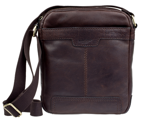 Lagen Kožená crossbody taška Dark Brown 20654
