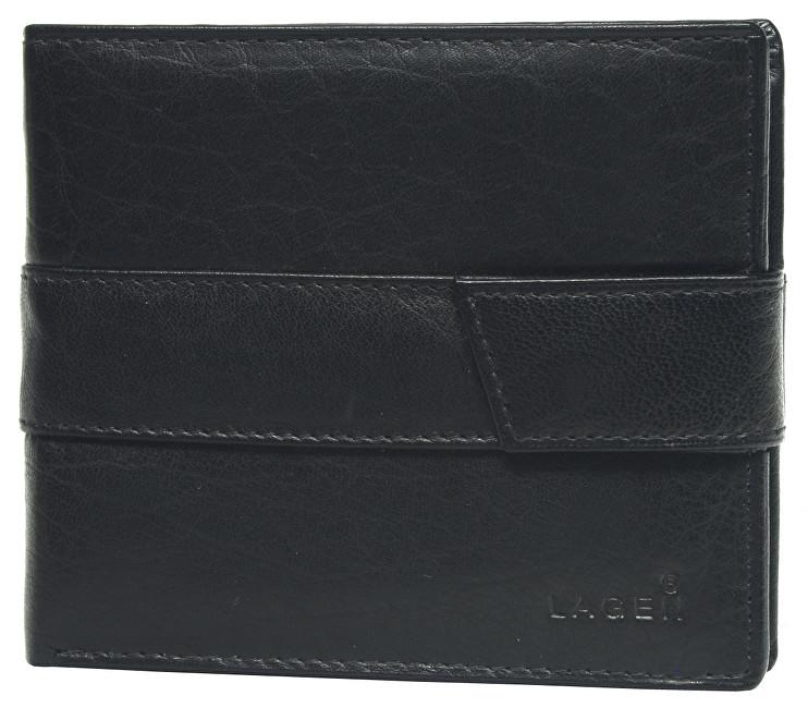 Lagen Pánska čierna kožená peňaženka Black V-03