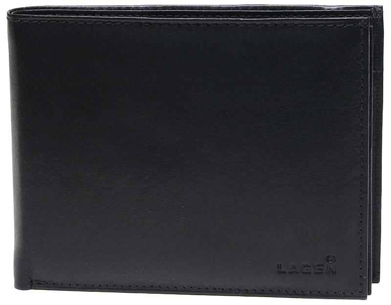 Lagen Pánska čierna kožená peňaženka Black V-75