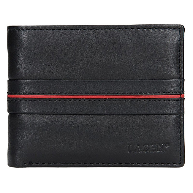 Lagen Pánska kožená peňaženka 3905 Black/Red