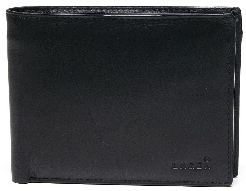 Lagen Pánska kožená peňaženka Black W-8053
