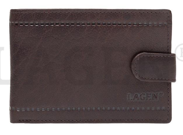 Lagen Pánska kožená peňaženka LV-8004 D.BRN